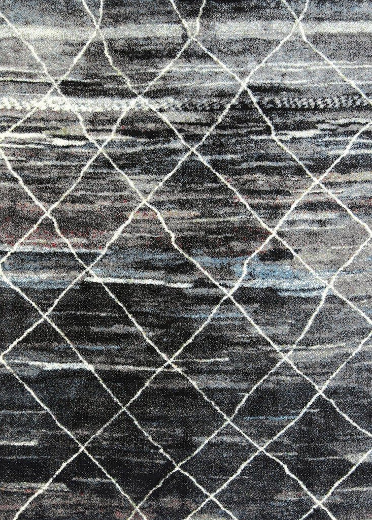 Sucre Black Blue and Ivory Distressed Abstract Rug