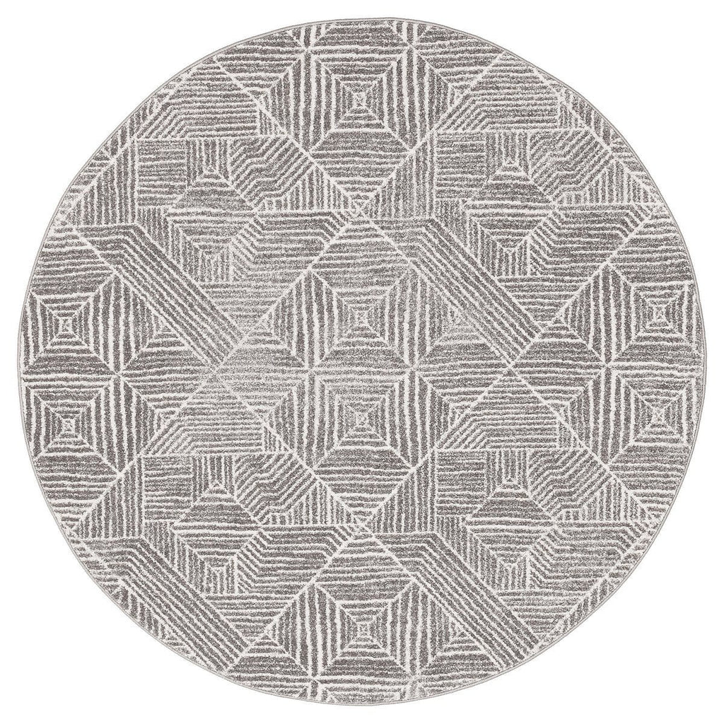 Suong Stone & White Tribal Diamond Pattern Round Rug
