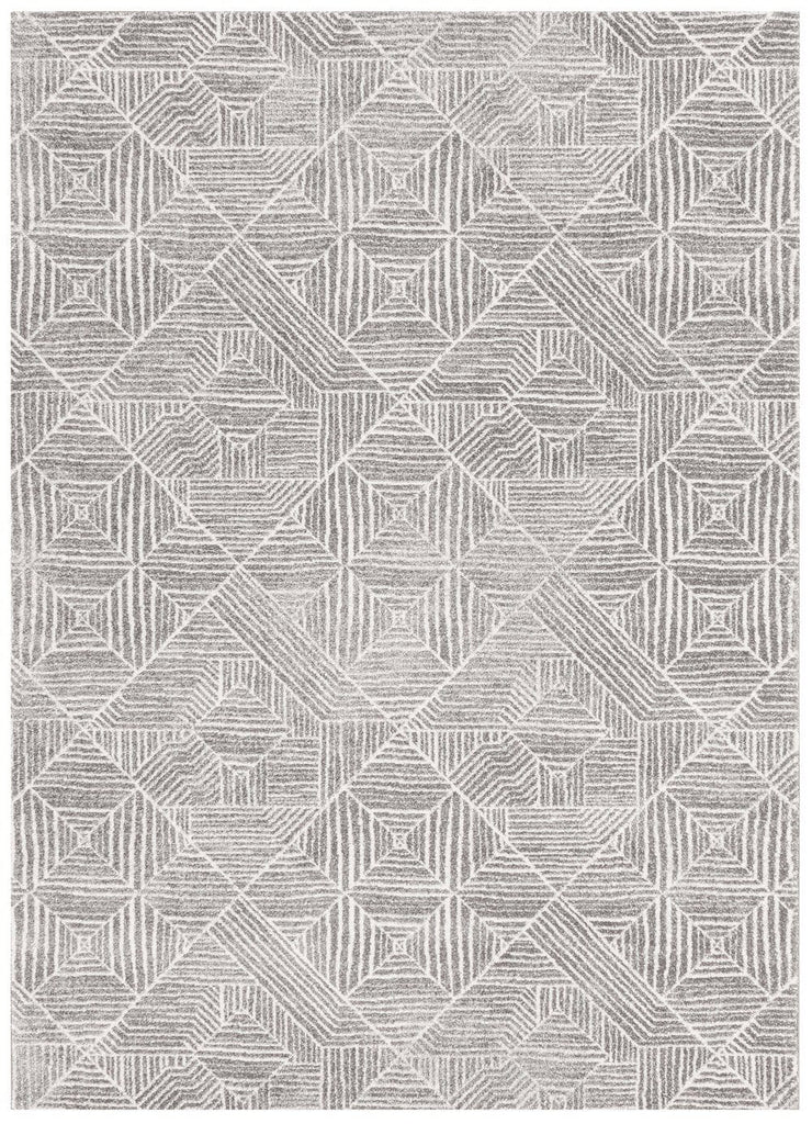 Suong Stone & White Tribal Diamond Pattern Rug