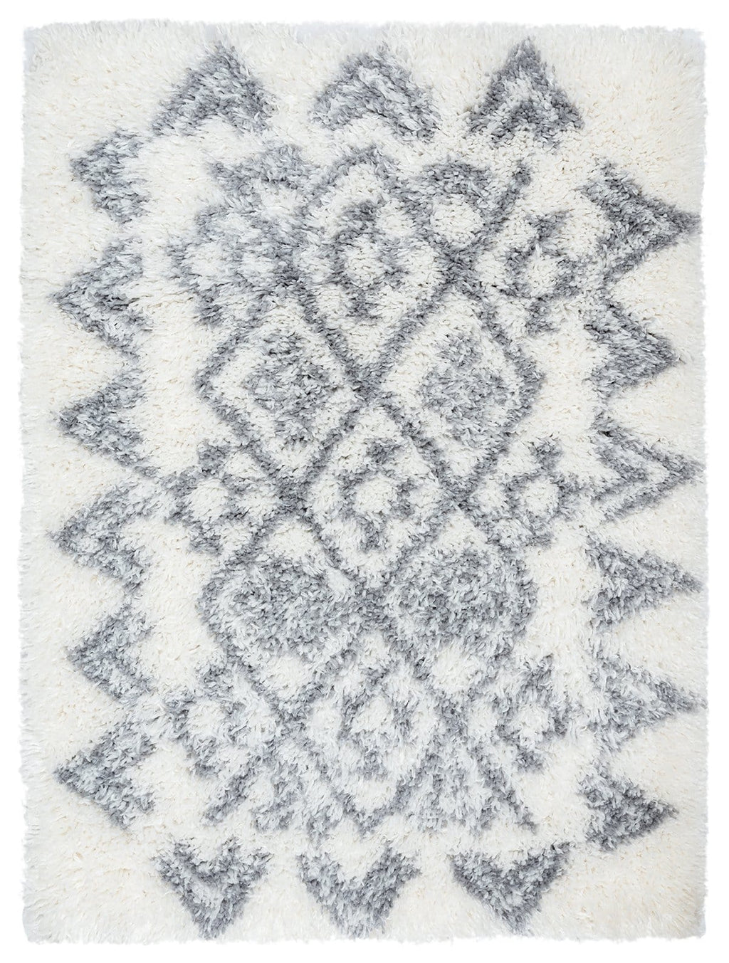 Tahnee Ivory and Grey Tribal Shag Indoor Mat
