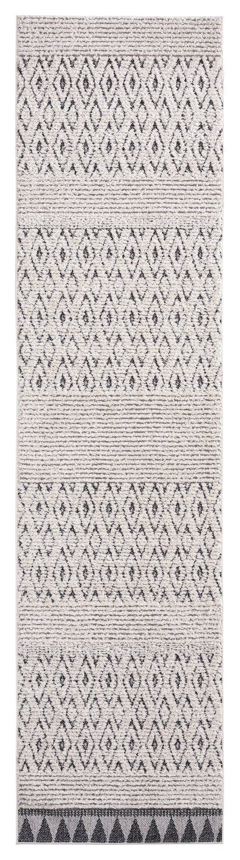 Talia Ivory Black Tribal Textured Runner Rug