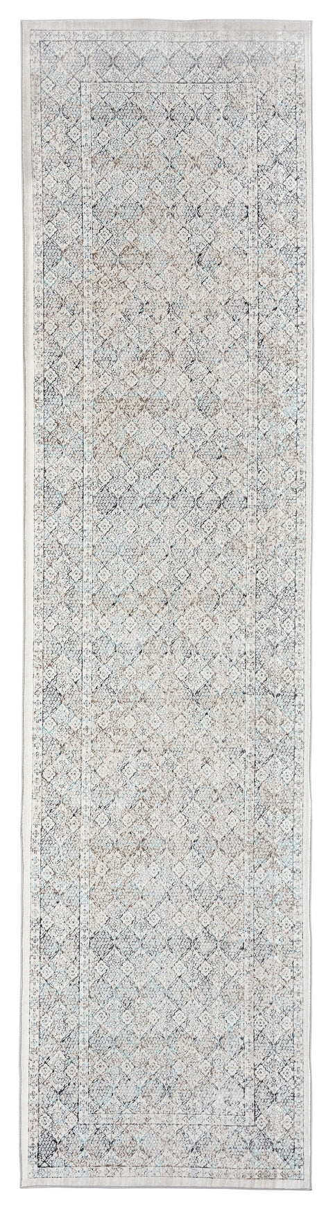 Tallulah Cream Grey and Blue Traditional Floral Runner Rug