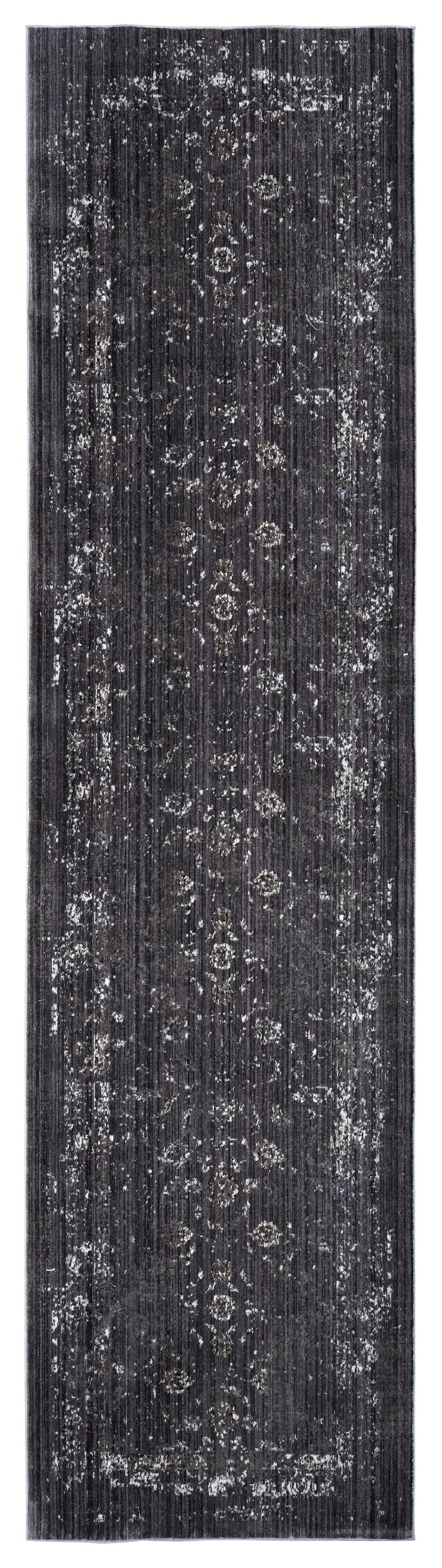 Tamara Dark Grey and Cream Floral Transitional Runner Rug