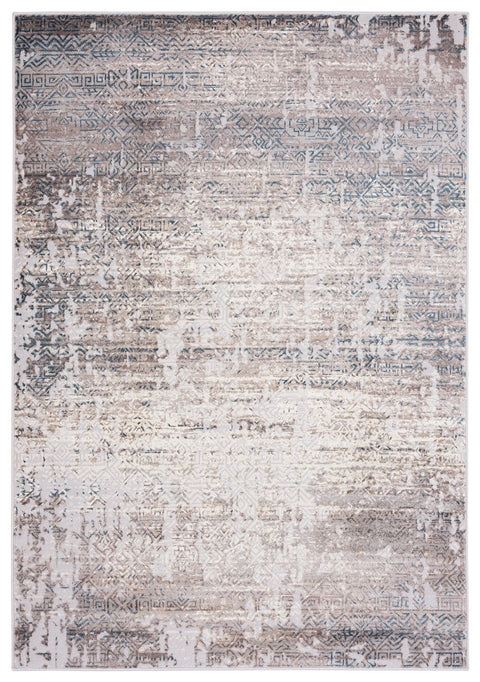 Tatara Grey Brown and Blue Distressed Tribal Rug
