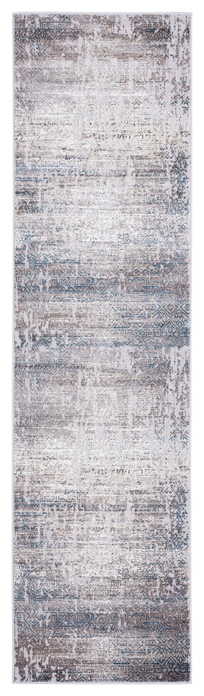 Tatara Grey Brown and Blue Distressed Tribal Runner Rug