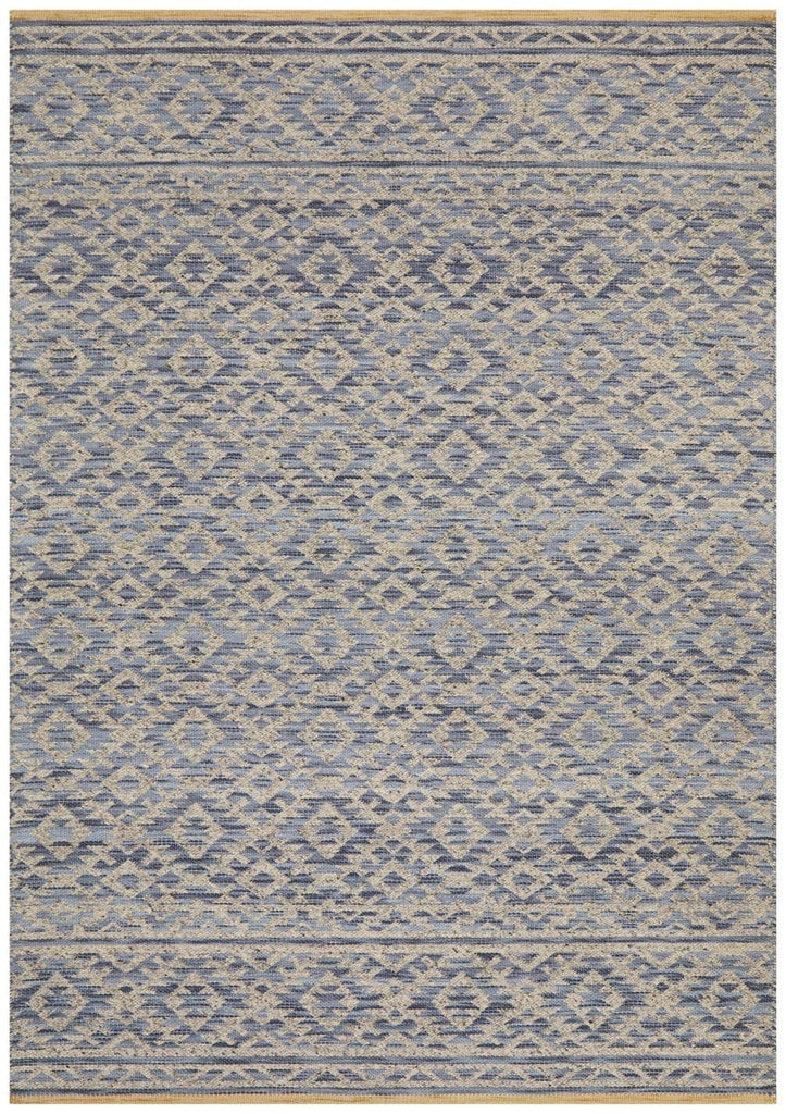 Taval Blue and Beige Tribal Wool Rug