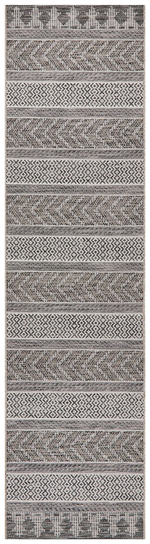 Tetela Grey Tribal Runner Rug