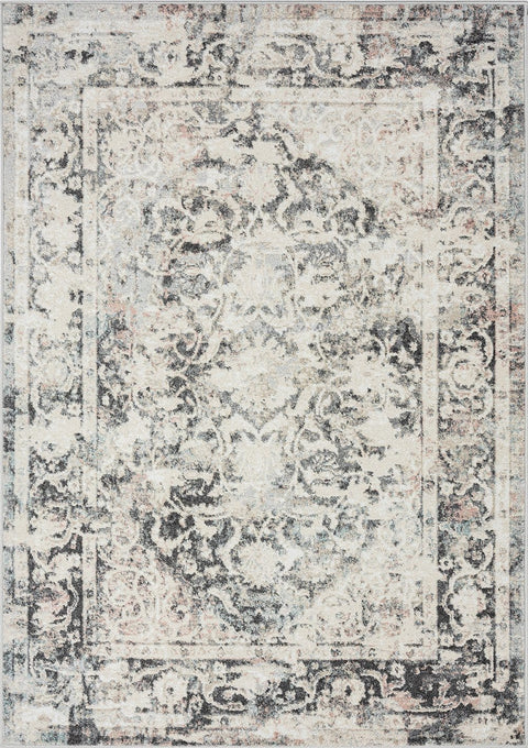 Thea Cream and Grey Traditional Medallion Floral Rug