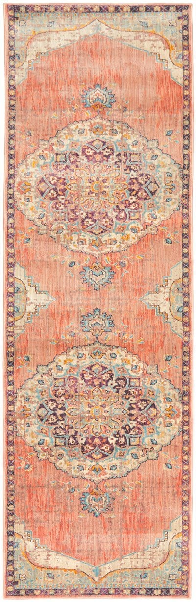 Thebes Purple and Apricot Traditional Distressed Medallion Runner Rug