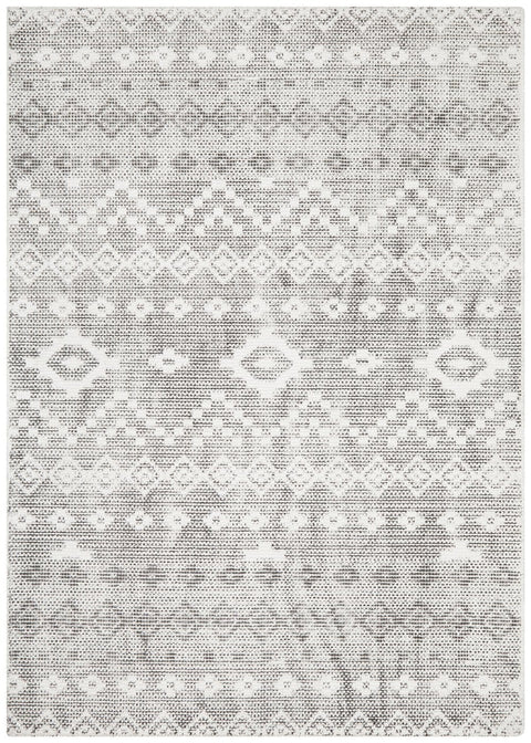 Tijuana Cream & Black Tribal Pattern Rug