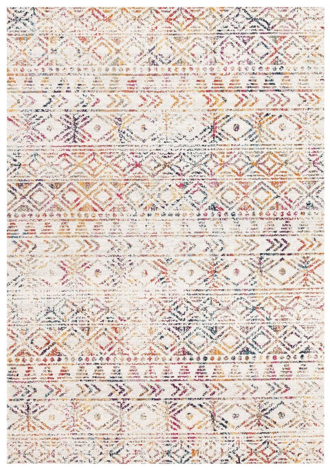 Topanga Ivory & Multicolour Tribal Pattern Rug