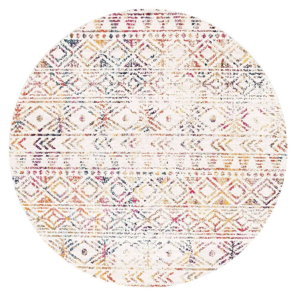 Topanga Ivory & Multicolour Tribal Pattern Round Rug