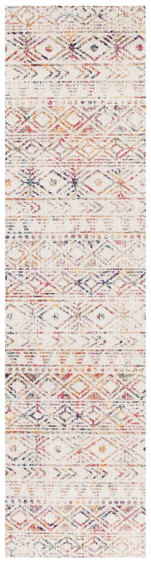 Topanga Ivory & Multicolour Tribal Pattern Runner Rug