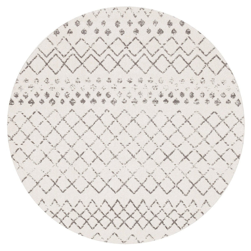 Toulon White & Dark Grey Diamond Pattern Round Rug