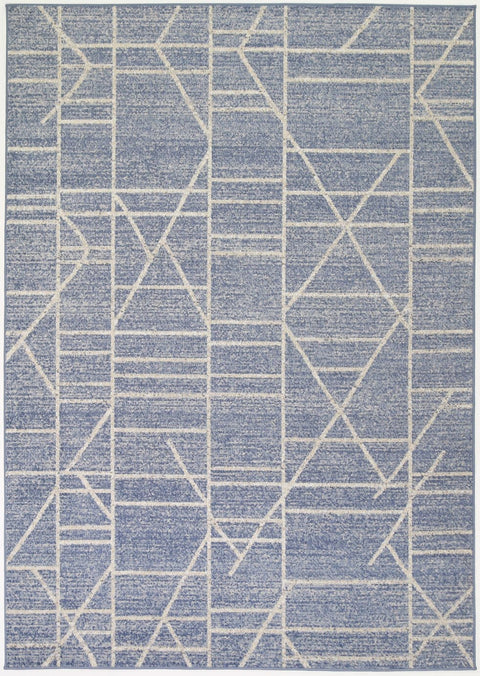 Trebon Blue and Grey Geometric Indoor Outdoor Rug