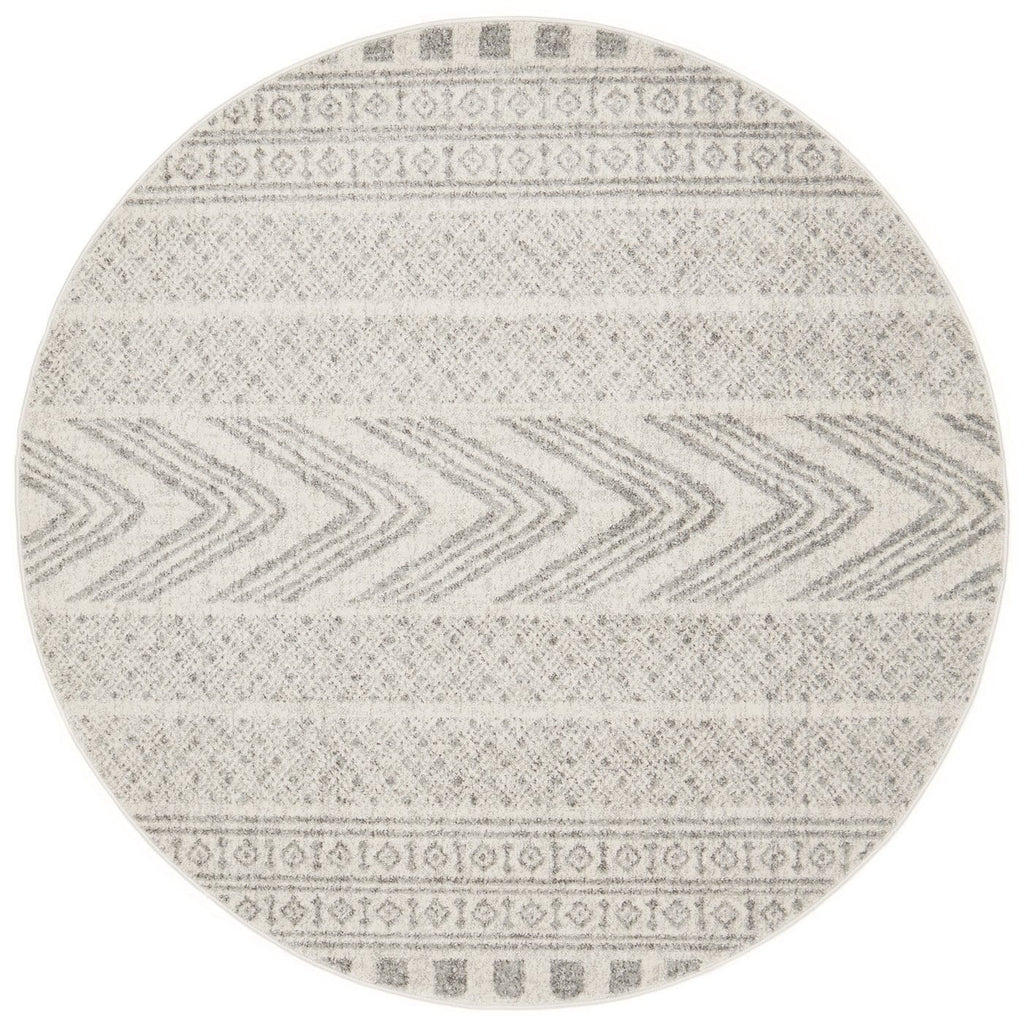 Tulsa Grey & White Tribal Print Round Rug