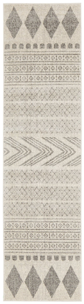 Tulsa Grey & White Tribal Print Runner Rug