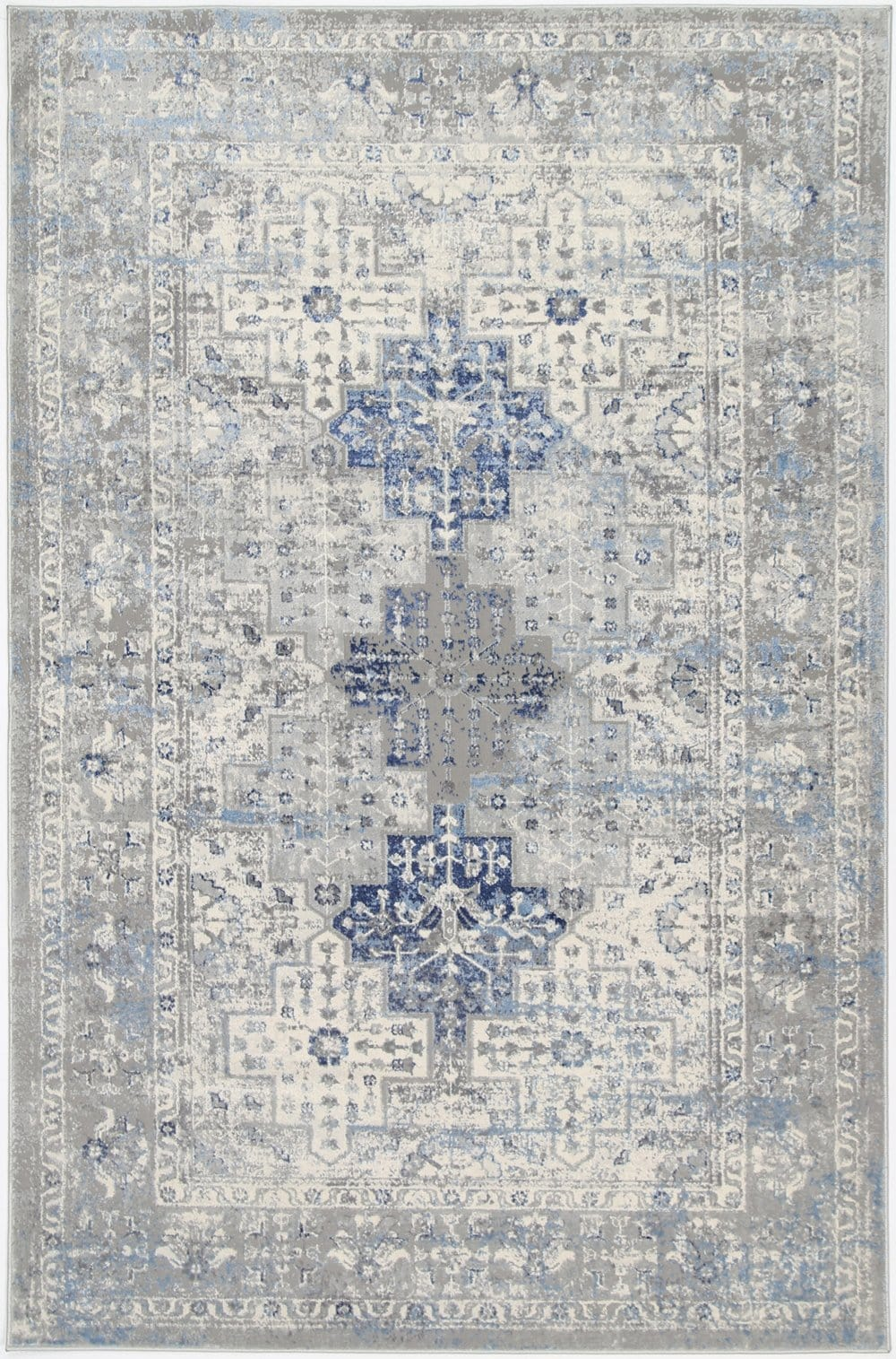 Utica Blue and Grey Distressed Medallion Rug