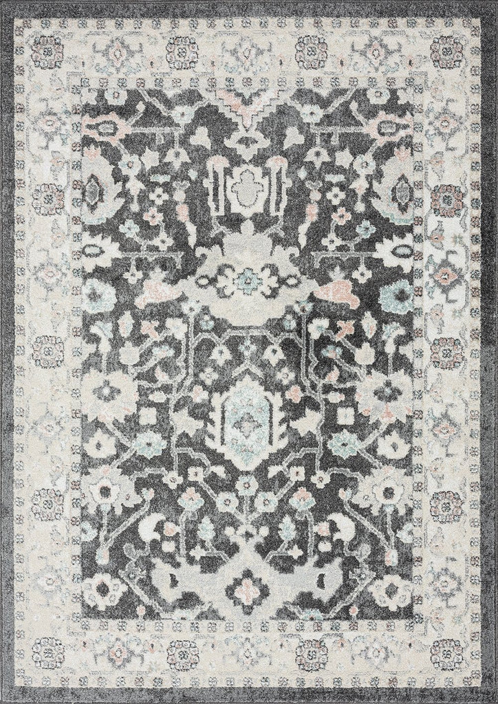 Vada Cream Ivory and Grey Traditional Medallion Floral Rug