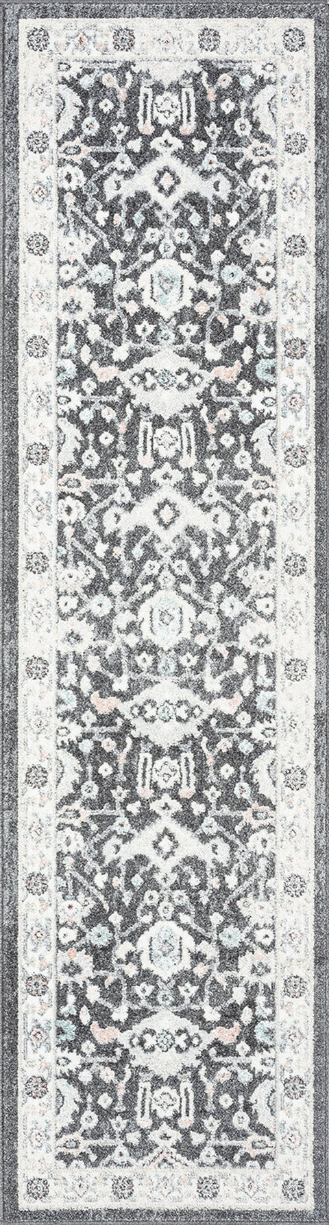 Vada Cream Ivory and Grey Traditional Medallion Floral Runner Rug