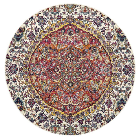 Valencia Floral Medallion Transitional Round Rug