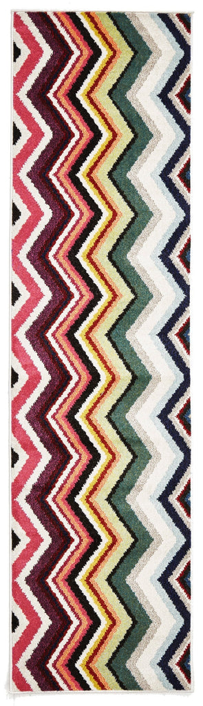 Varese Multi-Colour Chevron Runner Rug