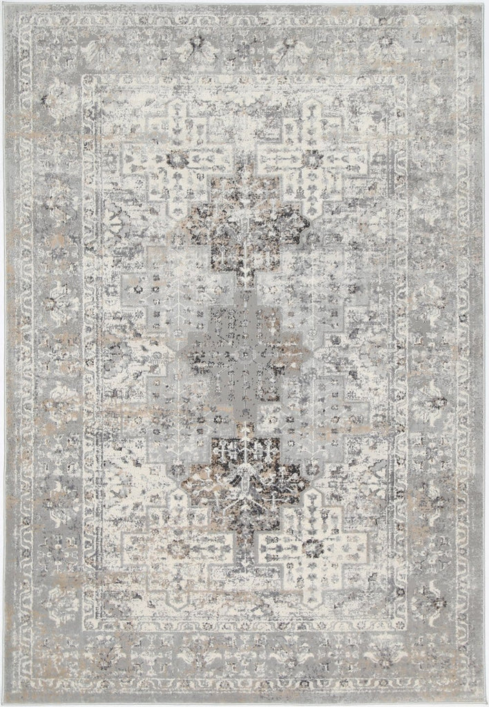 Verona Grey Beige and Ivory Distressed Medallion Rug