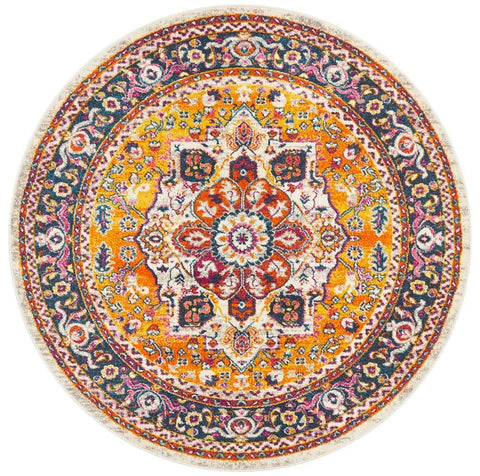 Vienne Multi Colour Round Traditional Medallion Rug
