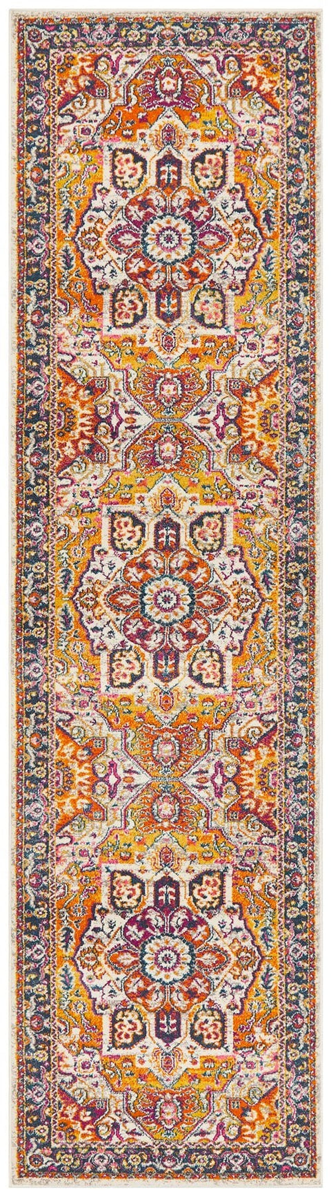 Vienne Multi Colour Traditional Medallion Runner Rug