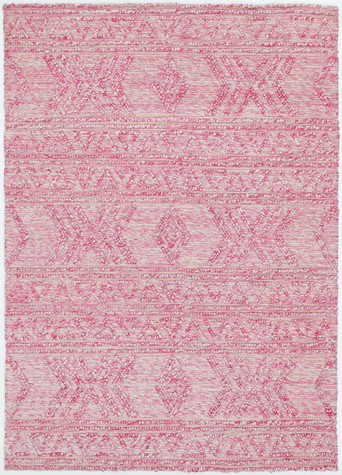 Wichita Pink Textural Tribal Cotton and PET Rug