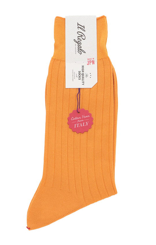 Ribbed Italian Cotton Mid-Calf Socks