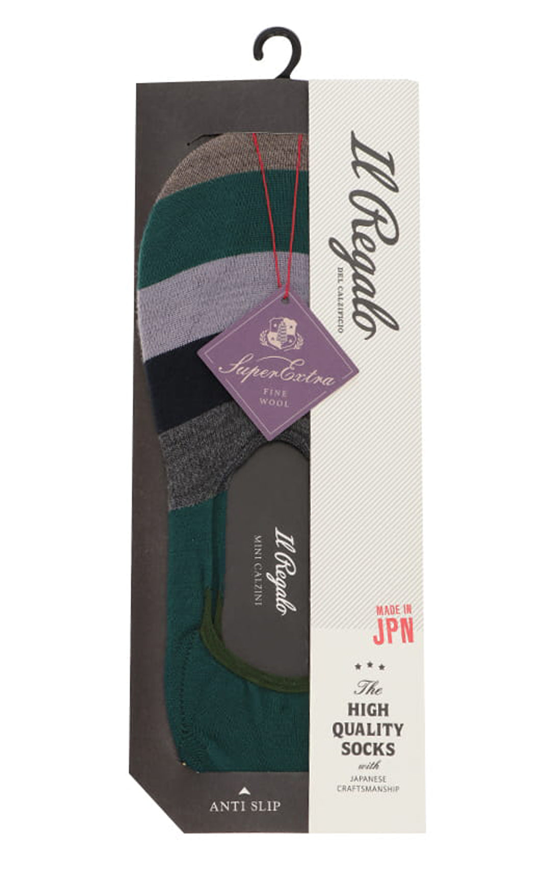 Multi Stripes Super Extra Fine Wool Liner Socks