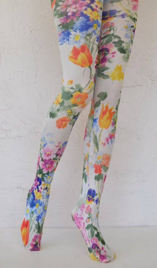 BRIGHT TULIP PRINTED TIGHTS