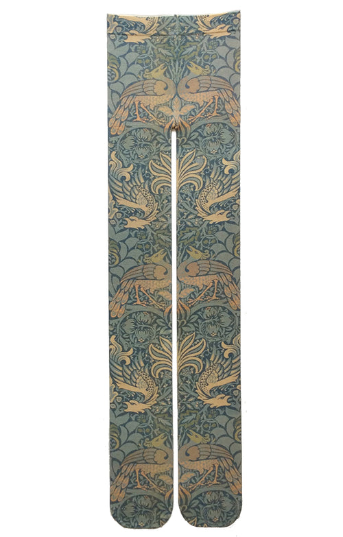 PEACOCK AND DRAGON BY WILLIAM MORRIS PRINTED TIGHTS