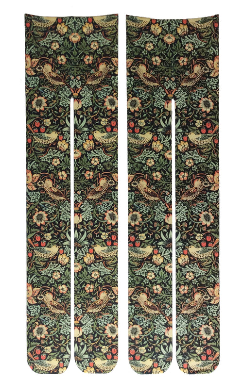 BIRD AND STRAWBERRY BY WILLIAM MORRIS PRINTED TIGHTS