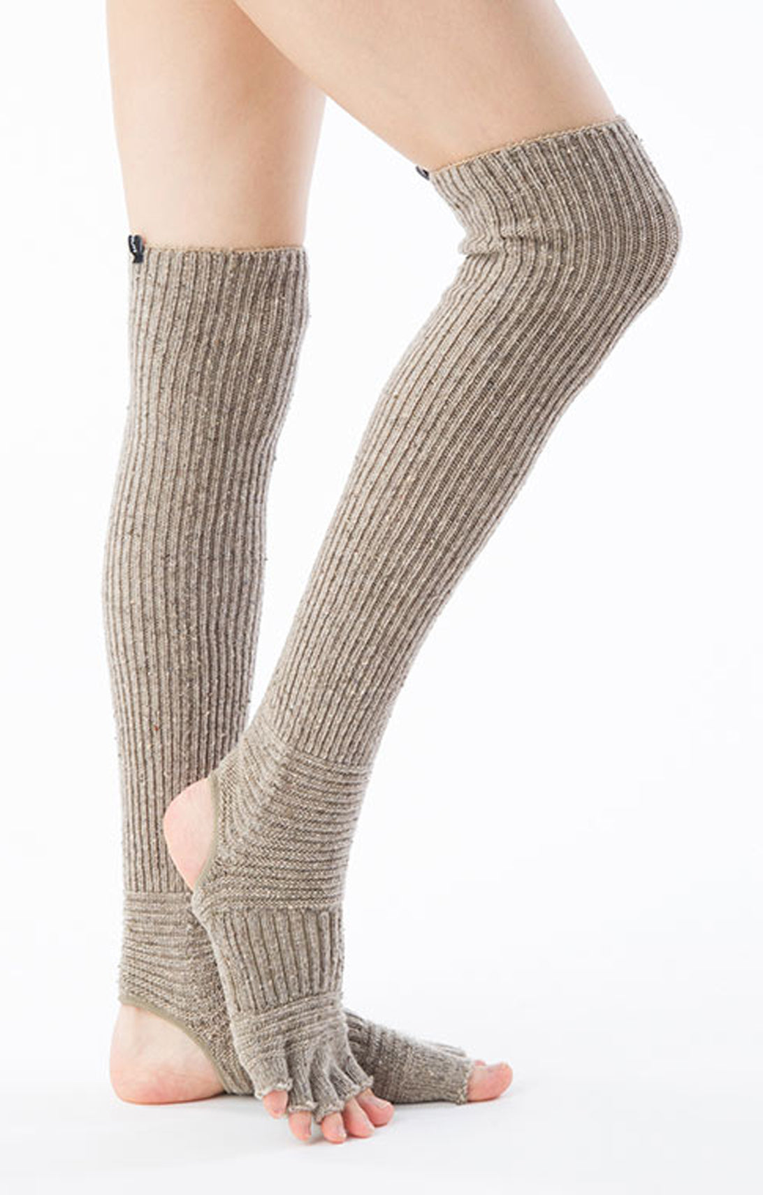 WOOL BLEND CONFETTI RIBBED OPEN TOE/HEEL LEG WARMERS SOCKS