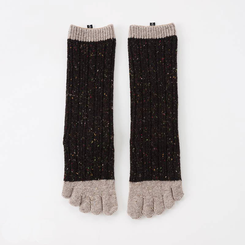 WOOL BLEND CABLE CONFETTI MIDCALF TOE SOCKS