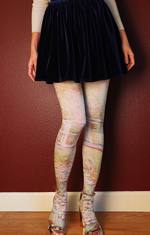 CLAUDE MONET l JAPANESE BRIDGE  PRINTED TIGHTS
