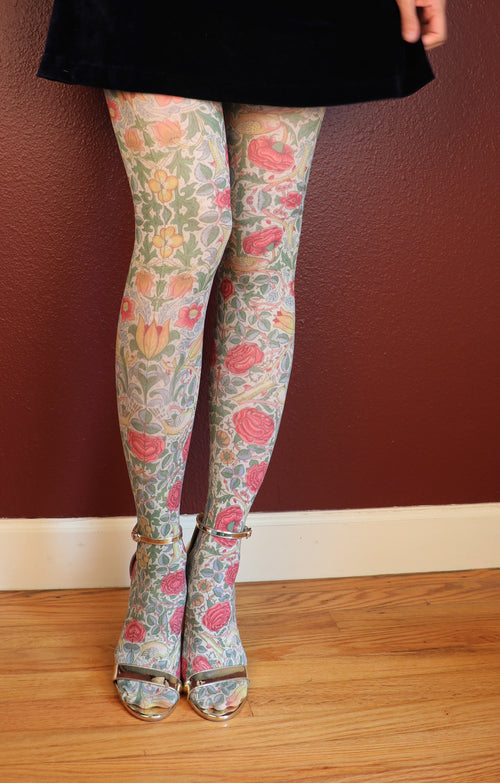 BIRD AND ROSE BY WILLIAM MORRIS PRINTED TIGHTS