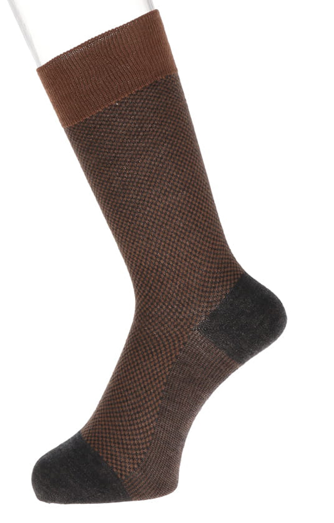 Small Grid Super Extra Fine Wool Mid-Calf Socks