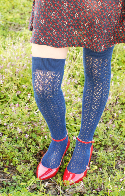 CROCHET EGYPTIAN COTTON OVER THE KNEE SOCKS l Tabbisocks l Made in JAPAN