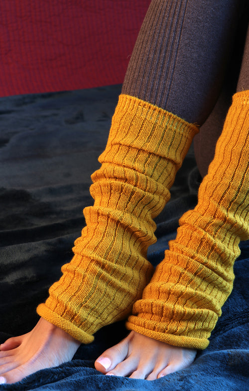 WOOL BLEND RIBBED LEG WARMERS