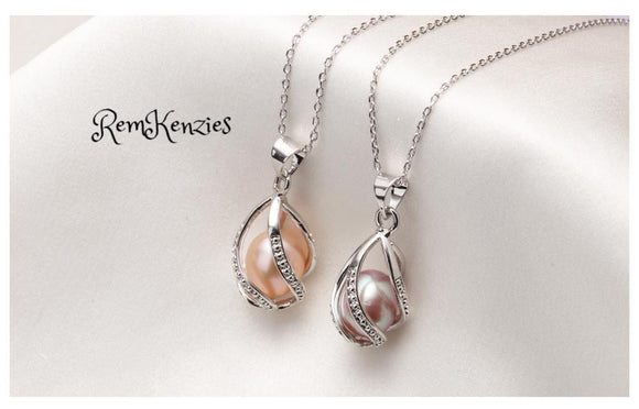 Natural Freshwater Pearl Cage Pendant Necklace