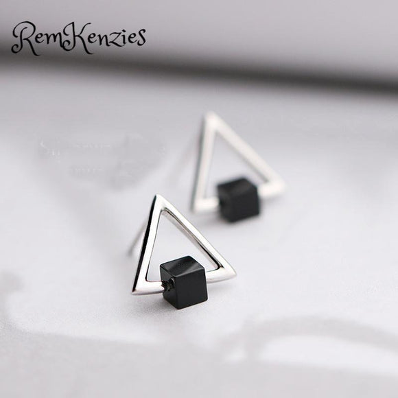 Black Square Hollow Triangle Stud Earring