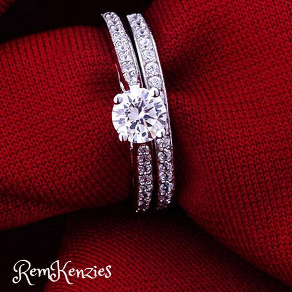 Crystal Engagement Couples Wedding Rings