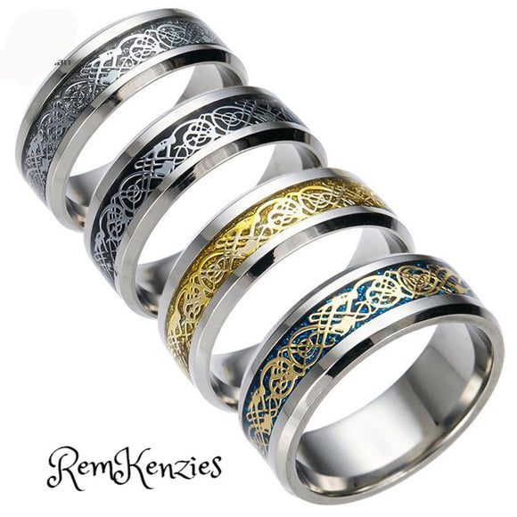 4 COLORS Vintage Dragon 316L Stainless Steel Rings