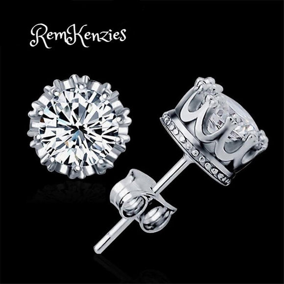 Round 2 Carat CZ Silver Earrings