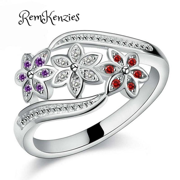 Three Color Design CZ Flower Ring