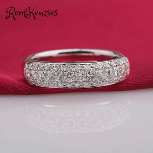 Clear Crystal Wedding Engagement Band
