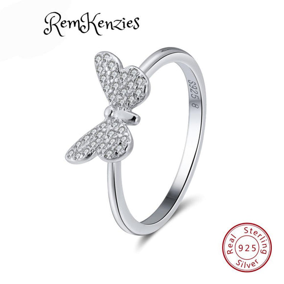 Genuine 925 Sterling Silver Butterfly Rings